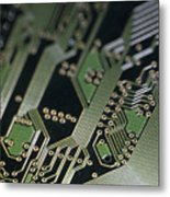 A Close View Of A Silicon Circuit Board Metal Print by Taylor S. Kennedy