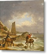 A Coastal Landscape Of The Isle Of Wight With Figures On Horse Back Near A Cottage Metal Print