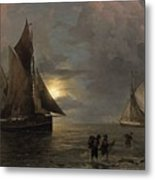 A Coastal Landscape With Sailing Ships By Moonlight Metal Print
