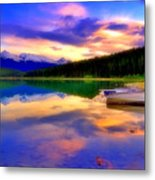 A  Colourful Evening At Lake Patricia Metal Print