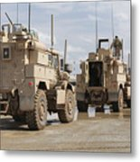 A Convoy Of Mrap Vehicles Near Camp Metal Print