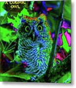 A Cosmic Owl In A Psychedelic Forest Metal Print