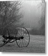A Country Scene In Black And White Metal Print