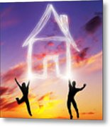 A Couple Jump And Make A House Symbol Of Light Metal Print