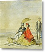 A Couple Seated And A Couple Walking On The Beach Metal Print