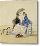 A Couple Seated On The Beach With Two Dogs Metal Print