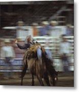 A Cowboy Rides A Bucking Bronco Metal Print