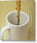 A Cup Of Energy Filled Coffee Is Poured Metal Print