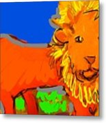 A Curious Lion Metal Print