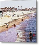 A Day At The Beach - Colored Pens Effect Metal Print