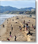 A Day At The Beach In Santa Monica Metal Print