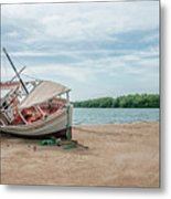 A Day Of Fishing Aground Metal Print
