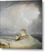 A Deal Lugger Going Off To Storm Bound Ships In The Downs Metal Print