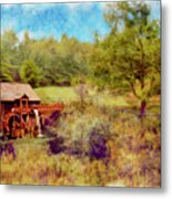 Grist Mill With Flowing Water Metal Print