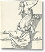 A Distraught Woman With Her Head Thrown Back Metal Print