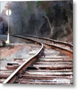 A Dreary Day On The Rail Line Metal Print