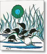 A Family Of Loons Metal Print by Arnold Isbister