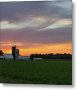 A Farm Sunset Metal Print