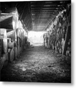 Farmer's Woodpile At Lusscroft Farm In Black And White Metal Print