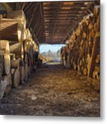 Woodpile At Lusscroft Farm In Color Metal Print