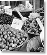 A Feast Of Olives In Mono Metal Print