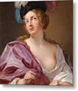 A Female Astronomer With A Globe And A Pair Of Compasses Metal Print