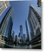A Fisheye View Of The Chicago Skyline As You Appraoch Wolf Point Metal Print
