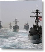 A Fleet Of Ships In Formation At Sea Metal Print