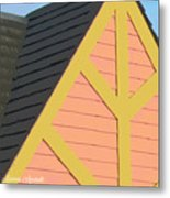 A-frame In Pastel Pink And Harvest Gold Yellow Metal Print
