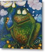 Frog In The Rain Metal Print