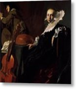 A Gentleman And A Lady With Musical Instruments Metal Print