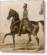 A Gentleman On Horseback With A Subsidiary Study Of The Horse's Head Metal Print