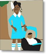 A Girl And Her Doll Metal Print