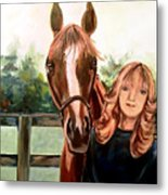 Wide Eyed Girl And Her Horse Metal Print