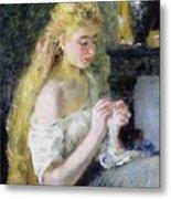 A Girl Crocheting Metal Print by Pierre Auguste Renoir