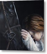 A Girl Who Loves Horses Metal Print