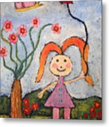 A Girl With A Balloon Metal Print