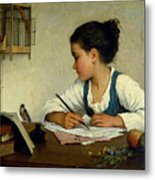 A Girl Writing. The Pet Goldfinch Metal Print