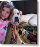 A Girlie-girl And Her Dog Metal Print