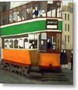 A Glasgow Tram With Figures And Tenement Metal Print