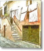 A Glimpse Of A House With Hanging Clothes Metal Print