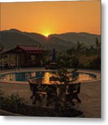 A Golden Sunset In Loas Metal Print