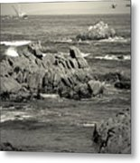 A Good Day Fishing On Monterey Bay In Black And White Metal Print