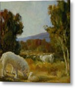 A Great Pyrenees With A Lamb Metal Print
