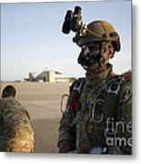 A Green Beret Waits To Have His Gear Metal Print