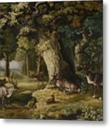 A Herd Of Stag And A Fawn In A Woodland Landscape Metal Print