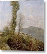 A Hillside Village In Provence Henry Herbert La Thangue Metal Print