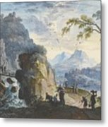 A Hilly Landscape With Figures  Metal Print
