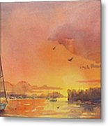 A Hingham Sunset Metal Print