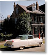 A Hot Date In A Pink Caddy Metal Print